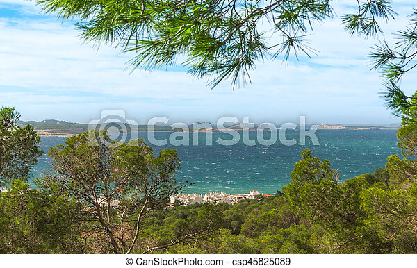 View out to sea through naturally framing trees. San Antonio Sant Antoni de Portmany in the Balearic Islands, Ibiza. - csp45825089