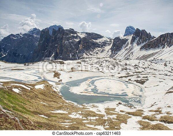 View over Alpine valley to sharp Alps peaks - csp63211463