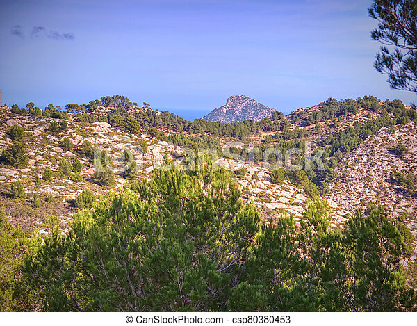View over mountains to S. Arraco town, - csp80380453
