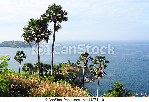 View over the ocean at Promthep Cape, Thailand - csp44274110