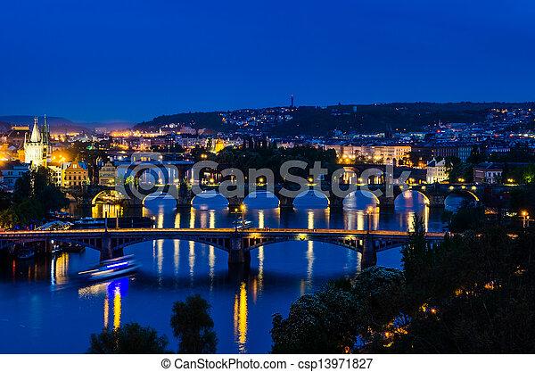 View over the Vltava river and bridges in Prague - csp13971827