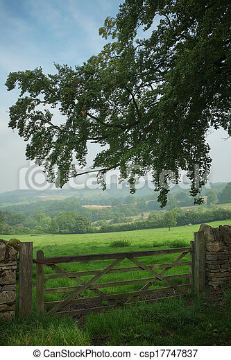 View over wooden gate across the English Countryside - csp17747837