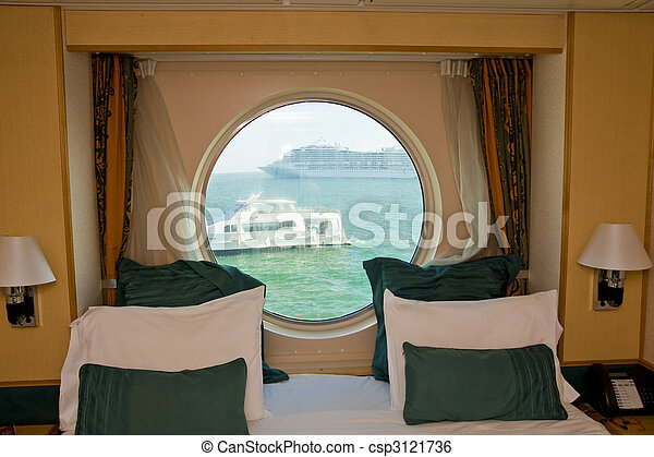 View Past Cabin Bed Through Porthole - csp3121736