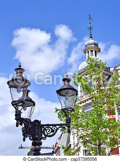 View to an old, decorative lantern - csp37395056