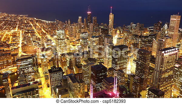 View to Downtown Chicago / USA from high above at twilight - csp5182393