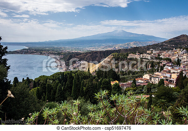 View to Etna over Taormina in Sizily - csp51697476