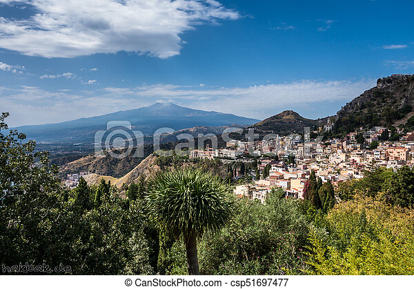 View to Etna over Taormina in Sizily - csp51697477