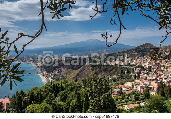 View to Etna over Taormina in Sizily - csp51697479