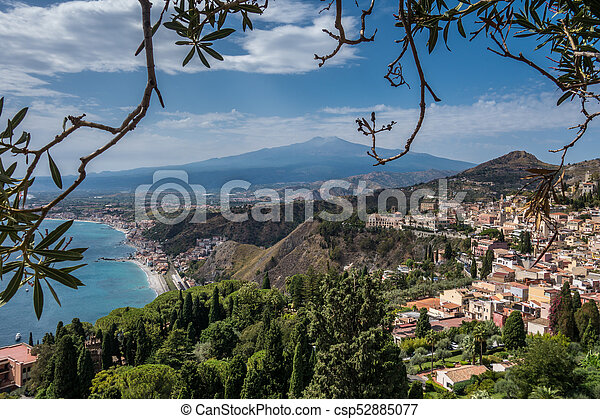 View to Etna over Taormina in Sizily - csp52885077