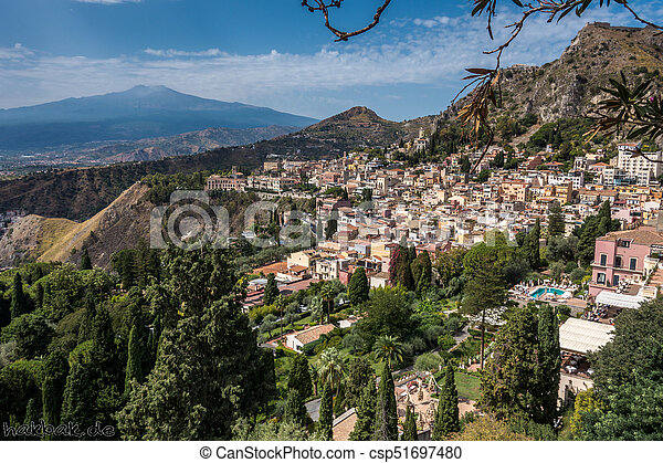 View to Etna over Taormina in Sizily - csp51697480