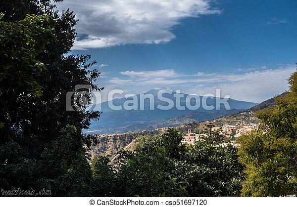 View to Etna over Taormina in Sizily - csp51697120