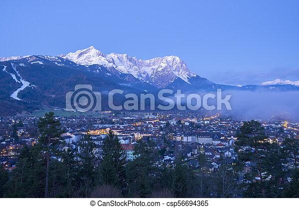 View to Garmisch-Partenkirchen in the morning - csp56694365