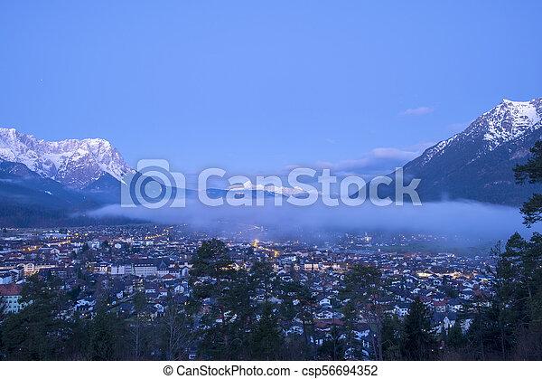 View to Garmisch-Partenkirchen in the morning - csp56694352