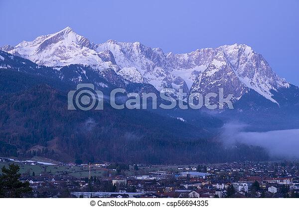 View to Garmisch-Partenkirchen in the morning - csp56694335