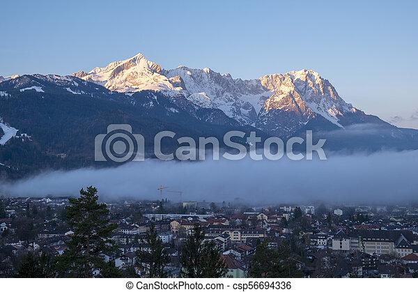 View to Garmisch-Partenkirchen in the morning - csp56694336