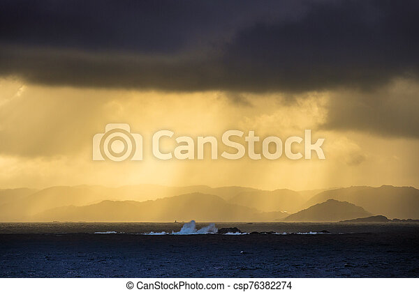 View to the Lyngdalsfjord with sunset in Norway - csp76382274