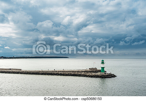 View to the mole in Warnemuende, Germany - csp50686150
