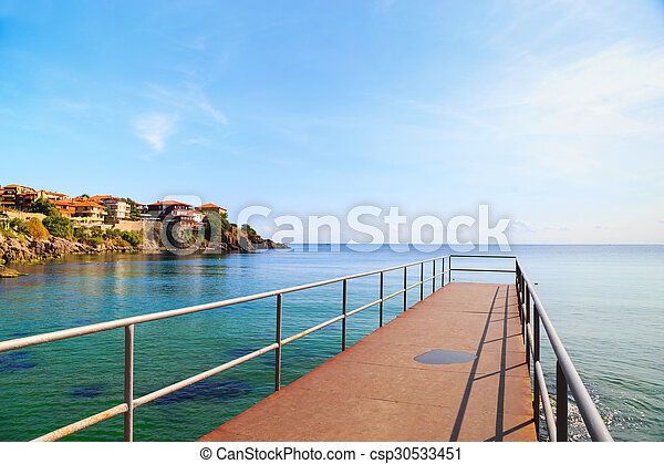 View to the old town of Sozopol, Bulgaria - csp30533451