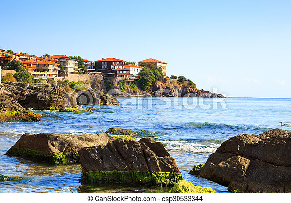 View to the old town of Sozopol, Bulgaria - csp30533344