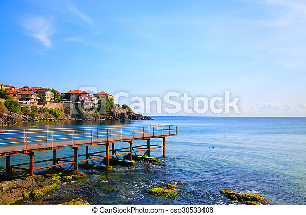 View to the old town of Sozopol, Bulgaria - csp30533408