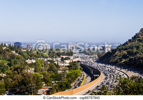View toward West Los Angeles on a hazy day; heavy traffic on highway 405; California - csp69797943