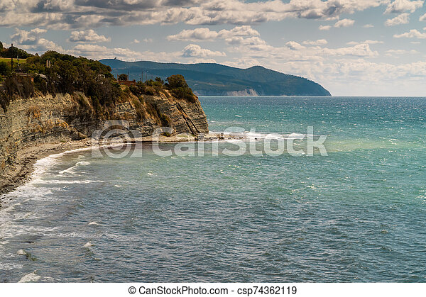 Views of the Black sea from the steep shores of Gelendzhik. - csp74362119