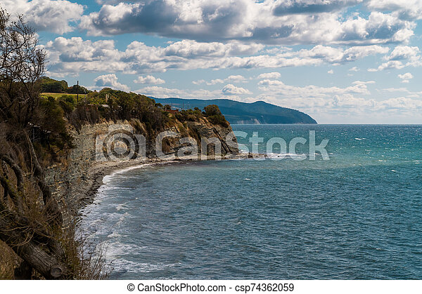 Views of the Black sea from the steep shores of Gelendzhik. - csp74362059
