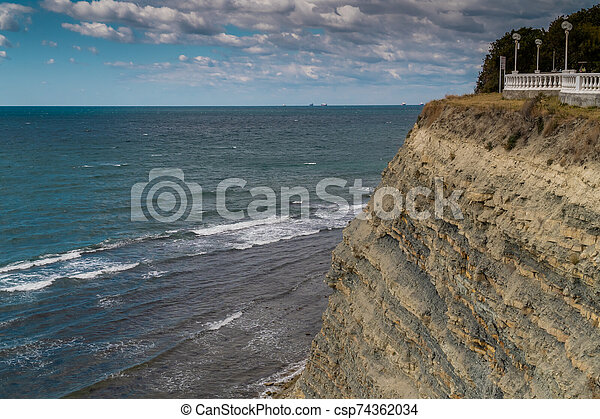 Views of the Black sea from the steep shores of Gelendzhik. - csp74362034