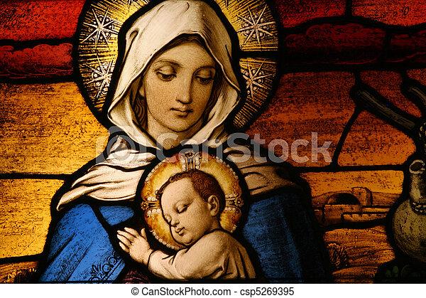 Vigin Mary with baby Jesus - csp5269395