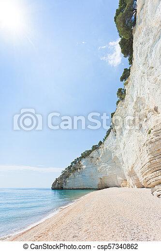 vignanotica, vignanotica, mittag, -, hoch, apulia, kies, sandstrand - csp57340862