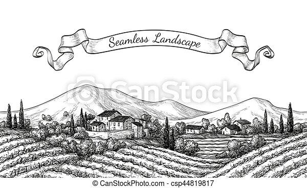 vigneto, seamless, paesaggio. - csp44819817