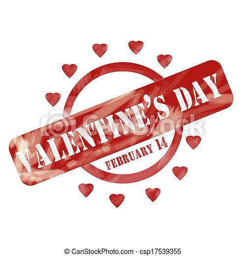 viharvert, valentine's, bélyeg, tervezés, piros, karika, nap, piros - csp17539355