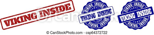viking, 切手, 中, グランジ, シール - csp64372722