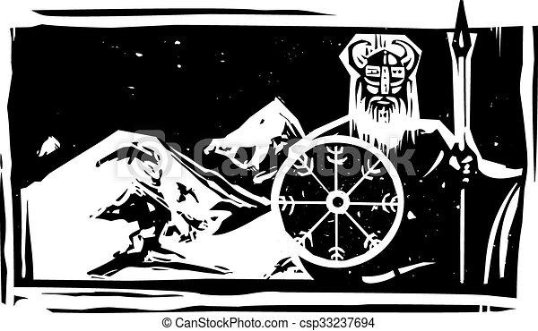 viking, 山, 木刻 - csp33237694