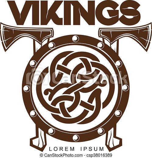 b3f8defef9afc Viking battle shield with axes, vector illustration of a simple logo ...