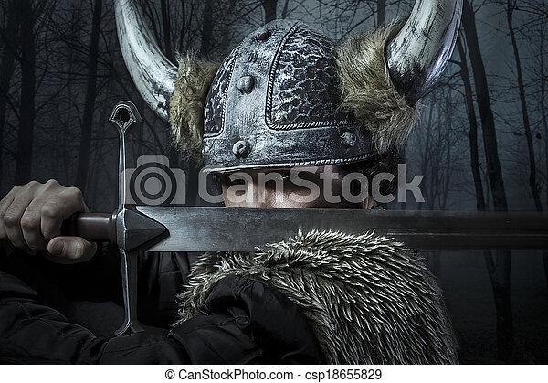 viking, estilo, vestido, barbudo, bárbaro, espada, guerreira, defesa, macho - csp18655829