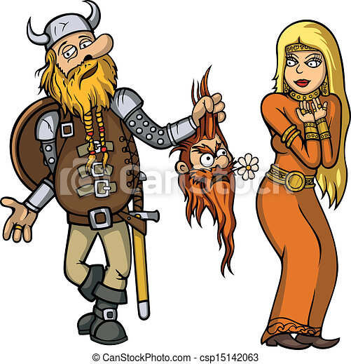 Viking falls in love with girl - csp15142063