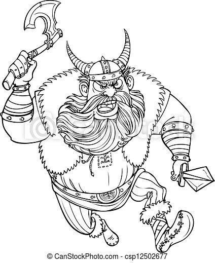 Un vikingo feroz corriendo con un hacha - csp12502677