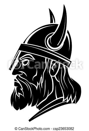 Viking Head Warrior Vector Illustration