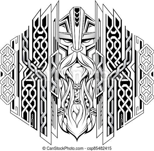 Viking head with ornaments as tattoo illustration - csp85482415