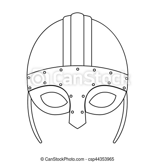 Viking helmet icon in outline style isolated on white ...