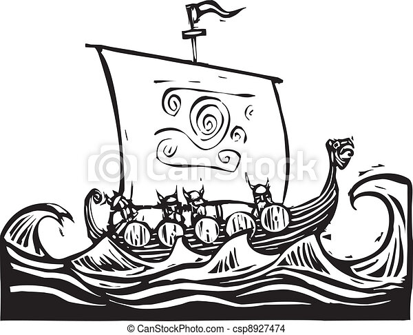 Viking longship. Woodcut image of a viking longship on the ocean.