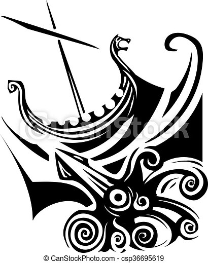 Woodcut style image of a viking longship sailing into the... vector ...