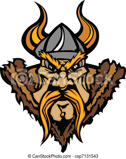 Viking Mascot Vector Cartoon with H - csp7131543