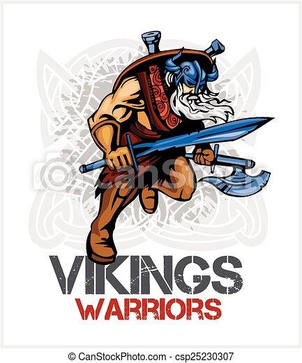 Viking norseman mascot cartoon with ax and sword - csp25230307