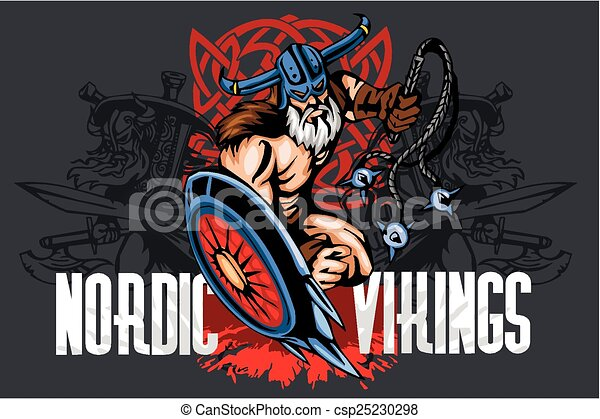 Viking norseman mascot cartoon with bludgeon and shield - csp25230298