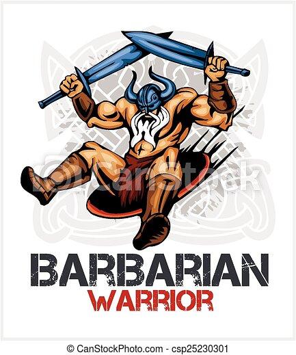 Viking norseman mascot cartoon with two swords - csp25230301