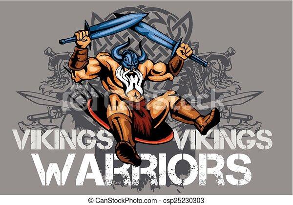 Viking norseman mascot cartoon with two swords - csp25230303