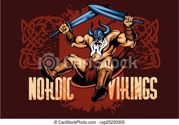 Viking norseman mascot cartoon with two swords - csp25230305