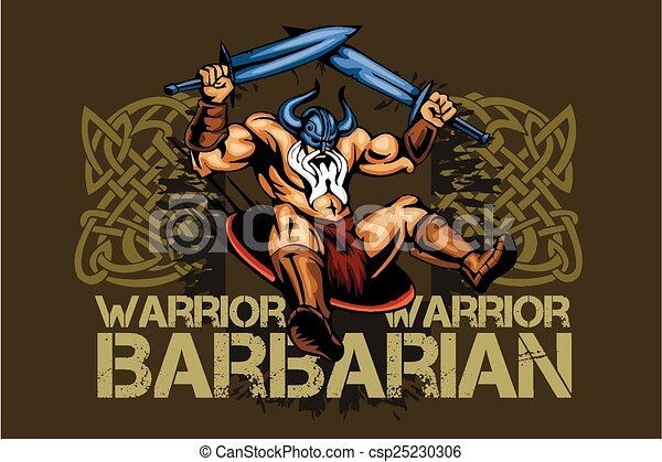 Viking norseman mascot cartoon with two swords - csp25230306